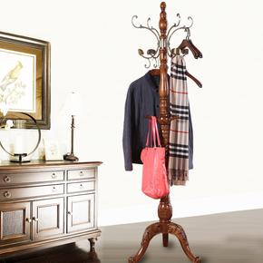 美式衣帽架衣物架衣服架家用欧式挂衣架落地创意卧室内全实木客厅