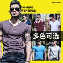 恤衫青少年韩版修身圆领半袖打底衫体恤男T夏季新款男士潮流短袖