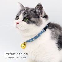 Small color cat handmade pet jewelry cat dog bell collar collar cat Teddy small dog collar adjustable