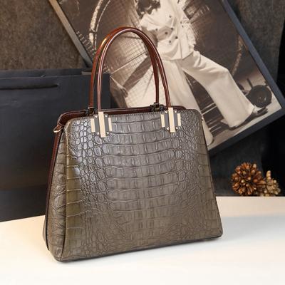 鳄鱼纹女包2018新款秋欧美时尚百搭单肩手提包大容量中年妈妈包包