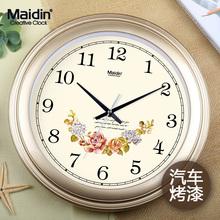麦丁钟表挂钟客厅宽边创意时钟挂表简约静音电子石英钟万年历挂表