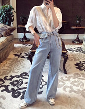 High-waist Jeans for Autumn 2019 Women's Hong Kong Wind-waist Bag Straight-bottomed Pants Broad-legged Pants Drop Feeling Slim Daddy Pants