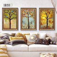墙蛙正版欧式大气客厅沙发背景墙装饰画发财树玄关挂画油画壁画