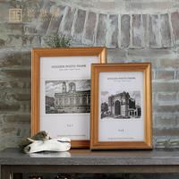 美式北欧复古金边实木相框相架 创意家居客厅样板间书房软装饰品