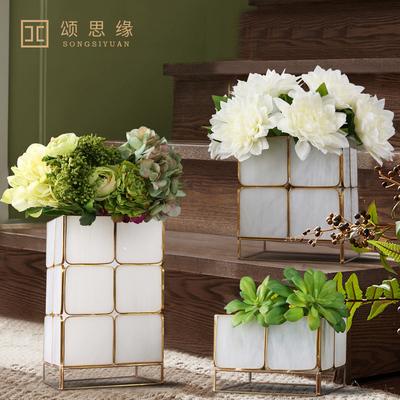 北欧美式创意金属玻璃花架 现代欧式插花器套装花艺样板间装饰品