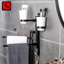 吸盘折叠壁挂卫生间活动架免打孔浴巾架置物架浴室太空铝毛巾架
