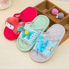 Children's cartoon cotton fabric slippers men and women baby home indoor anti-skid mute soft bottom four seasons summer slippers