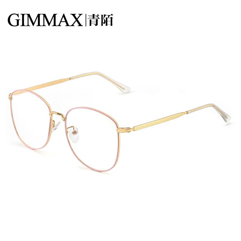 金属可女士圆防辐射眼镜复古原配近视