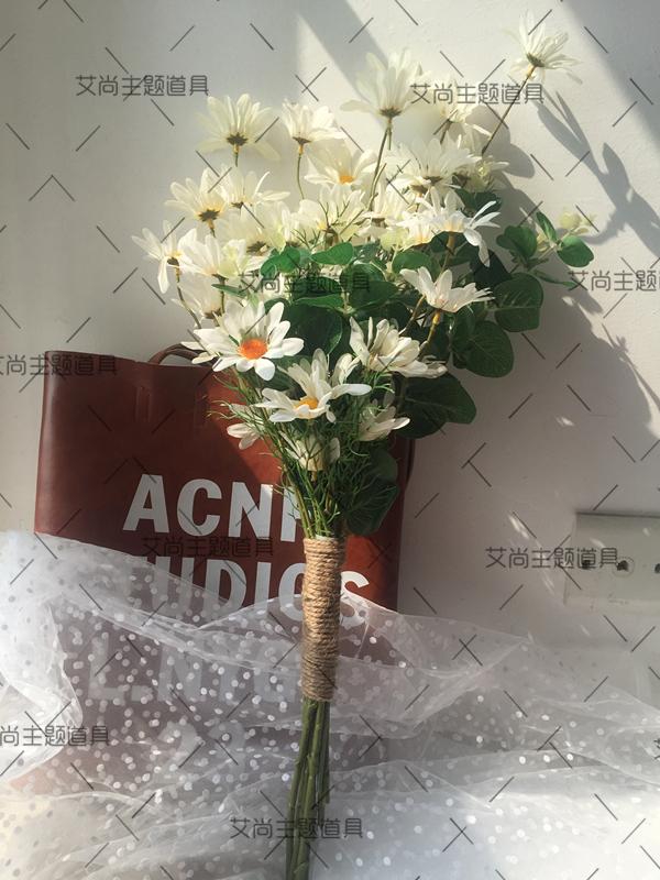 婚纱摄影道具手捧花 旅拍仿真小碎花韩式小清新雏菊装饰拍摄道具