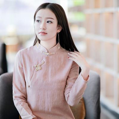 伶俐柠檬10936复古原创女装民族风棉麻修身中长旗袍连衣裙