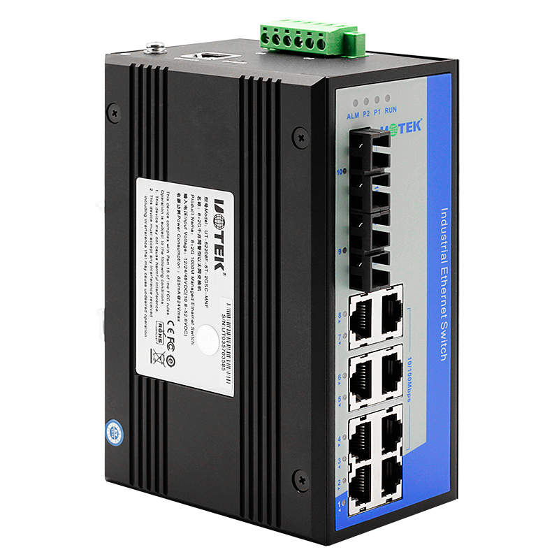 宇泰UT-62208F系列工业网络交换机工业级网管型交换机全千兆2光8电4光4电2光6电以太网交换机导轨式宽电压