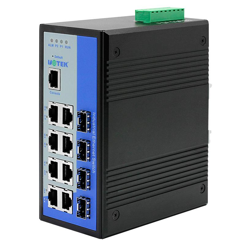 宇泰UT-62408F系列工业网络交换机2光8电百兆网管型交换机4光8电千兆管理型交换机工业级导轨式安装双电源