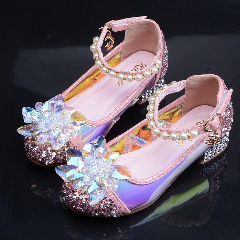 2018春秋新款儿童灰姑娘水晶鞋韩版真皮女童皮鞋高跟演出公主单鞋