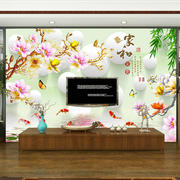 Chinese home and living room TV background wall painting 3d wallpaper 5d video wall seamless wallpaper custom wall cloth
