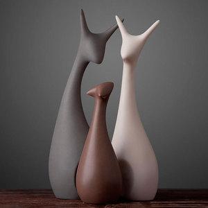 北欧家居客厅陶瓷摆件创意桌面酒柜装饰品摆件结婚礼物房间小摆设