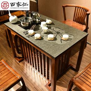 火烧石实木功夫茶桌茶台办公室多功能茶几泡茶桌中式茶艺桌椅组合