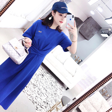 Super Long T-shirt Women's Loose Short Sleeves 2019 New Korean Edition Westernized Blue Size Mid-long Knee T-shirt Skirt Summer