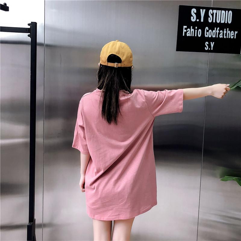 短袖2019新款韩系字母上衣宽松开叉中长款大码ins半袖t恤女夏装