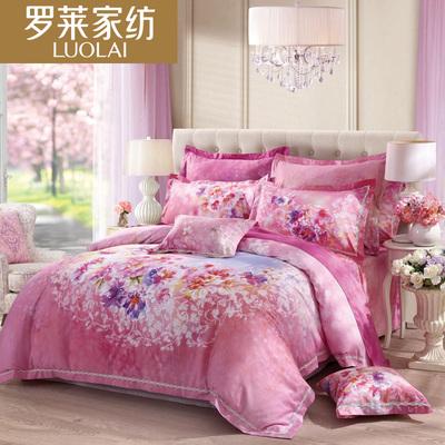 罗莱家纺纯棉被套床单床上用品四件套全棉贡缎1.5/1.8m被罩