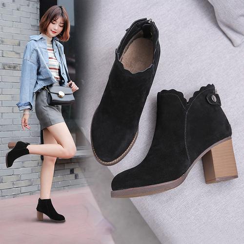 短靴女秋冬2018新款切尔西马丁靴女真皮粗跟高跟韩版百搭短筒女靴