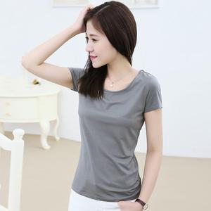 图片:短款黑色莫代尔t恤女士短袖末代尔白色打底衫木代尔修身显瘦体恤