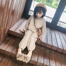 女童2018秋冬新款儿童装加绒双面呢羊驼绒衫毛衣长裤洋气两件套装