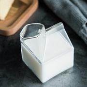 创意玻璃牛奶瓶家用早餐牛奶杯透明容器耐高温北欧牛奶盒可微波炉