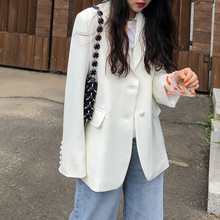Spring and Autumn White and Loose Leisure Mid-long Suit and Coat Ladies