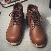 冬季马丁靴男棉鞋加绒雪地靴子英伦中帮高帮休闲军靴沙漠短靴工装