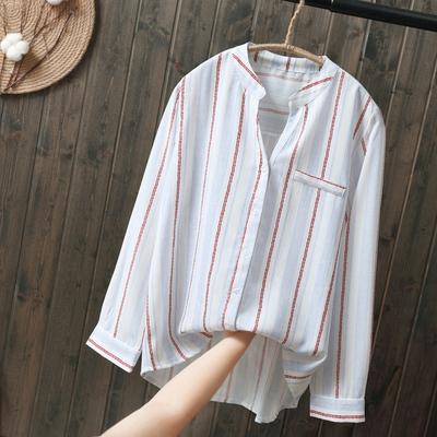 2018秋季新款韩版宽松竖条纹衬衣女装长袖v领打底衬衫上衣文艺范