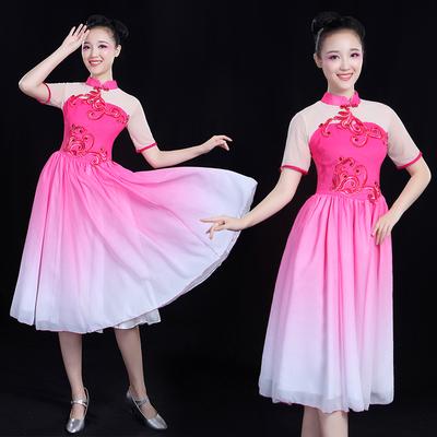 现代舞服装短裙演出服女成人新款2018短款飘逸排舞服装扇舞合唱服