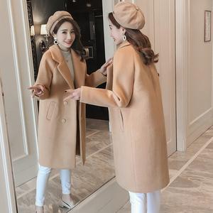 阿尔巴卡chic呢子大衣女学生小个子毛呢外套女中长款韩版2018新款