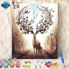 饰油彩画 diy数字油画客厅动物填色画减压手工涂色成人手绘上色装图片