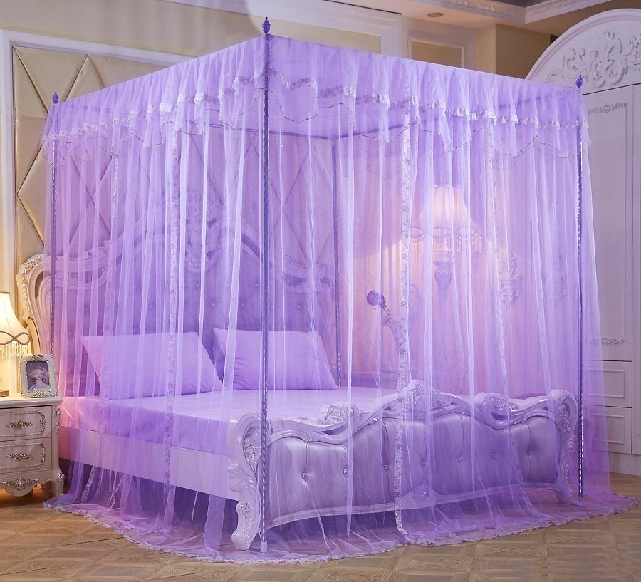 蚊帐三开门不锈钢1.2米落地支架1.5公主风1.8m床双人家用加厚加密