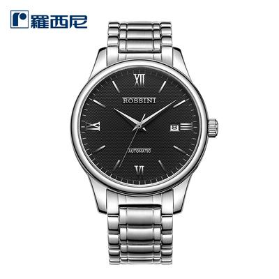 罗西尼手表男机械表精钢简约防水正品时尚休闲腕表男士手表517507