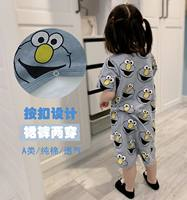 Baby robe short-sleeved baby pajamas summer thin section cotton boy girl conjoined 1 loose 3 year old children's nightdress