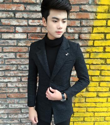 秋冬风衣韩版修身男士小码纯色毛呢中长款风衣西装领英伦大衣