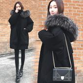 韩版 外套潮 宽松加厚大毛领茧型蝙蝠袖 冬季中长款 羽绒服女2018新款