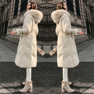 白色羽绒服女中长款过膝2017冬装新款韩版大毛领时尚收腰加厚外套