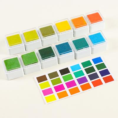 24色彩色印泥印 台手指画婚礼可印布纸木橡皮章 可爱印台印泥套装