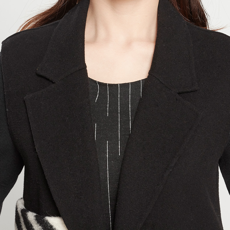 知臣 春秋毛呢女外套韩版无袖背心中长款显马夹 3364630