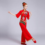 Youxiange 2016 new Yangge waist drum fan dance red festive dance performance national stage costume female