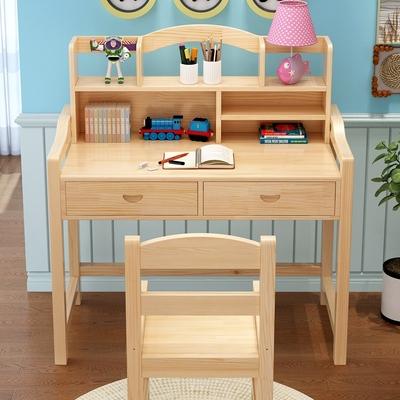 实木儿童学习桌家用写字桌椅套装小学生书桌升降双层书架松木课桌