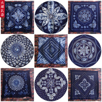 云南大理白族扎染方桌布手工纯棉蓝染送老外中国民族风挂饰茶几布