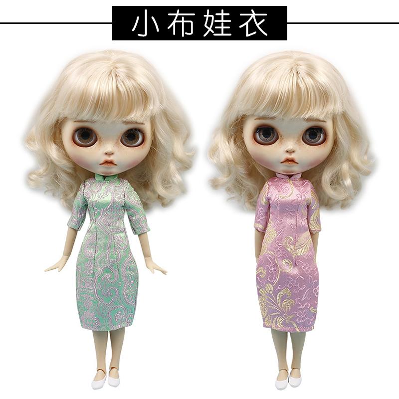 blythe娃娃 小布娃娃娃衣licca 6分娃衣服 旗袍2件套连衣裙套装