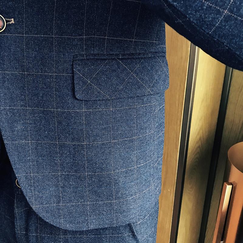 结婚礼服职业正装发型师三件套西服夜店潮男韩版修身格子西装套装