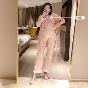 月子服 三件套2019新款 时尚 春秋大码 孕妇睡衣哺乳服产妇喂奶服套装