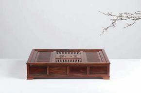 老挝大红酸枝素面茶盘实木大号木质茶台雕刻储水式带电磁炉包邮