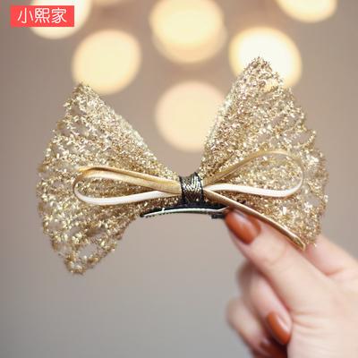 韩国进口儿童气质大蝴蝶结发夹金色闪耀女孩发卡公主演出生日头饰