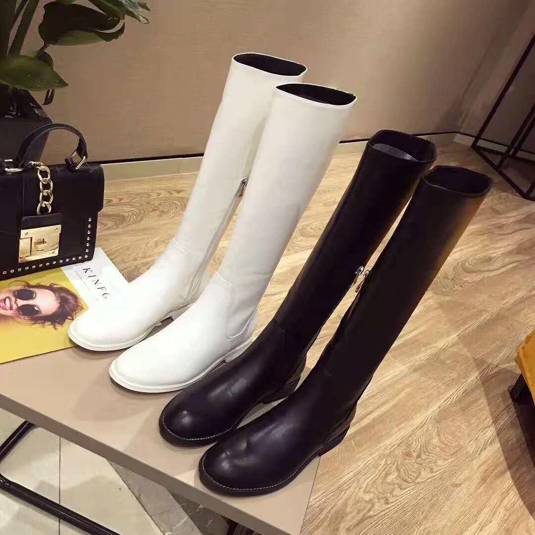 欧洲站2018秋冬新款欧货白色直筒高筒平底真皮显瘦长靴女骑士靴潮